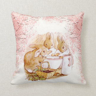 Beatrix Potter Bunnies, Baby Shower, Pink, Custom Cushion