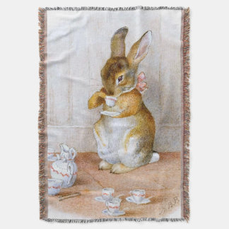 Beatrix Potter: Bunny Girl Drinking Tea Throw Blanket
