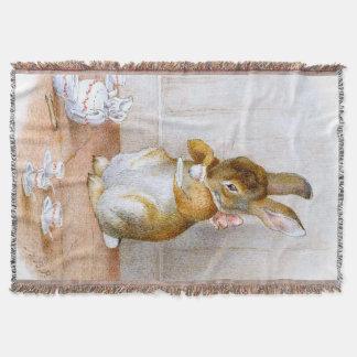 Beatrix Potter: Bunny Girl Drinking Tea Throw Blanket