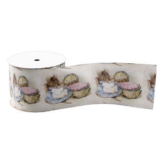 Beatrix Potter, Momma Mouse, Babies, Custom Grosgrain Ribbon