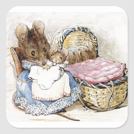 Beatrix Potter, Mother Mouse and Babies, Custom Square