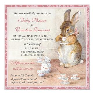 Beatrix Potter Rabbit Custom Baby Shower Tea Pink Custom Invitation Card