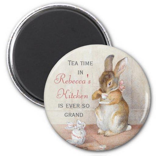 Beatrix Potter Rabbit Drinking Tea Custom Magnet