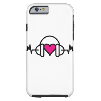 Beats of Love | Pink heart with pulse & headphone Tough iPhone 6 Case