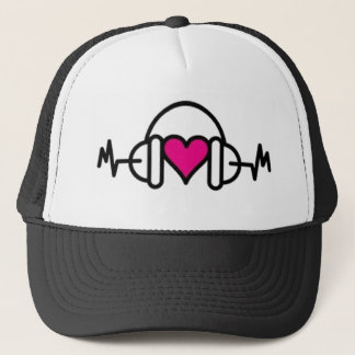 Beats of Love | Pink heart with pulse & headphone Trucker Hat