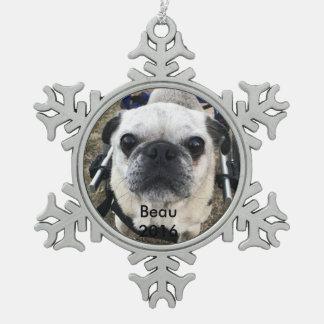 Beau 2016 pewter snowflake decoration