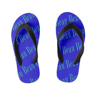 Beau Name Logo On Blue Mosaic, Kid's Flip Flops