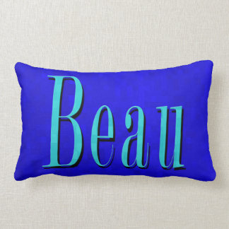 Beau Name Logo On Blue Mosaic, Lumbar Cushion