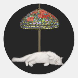 Beau Suntans Under a Lamp Round Sticker