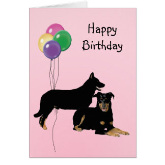 Beauceron, Birthday Balloons Card