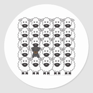 Beauceron in the Sheep Classic Round Sticker