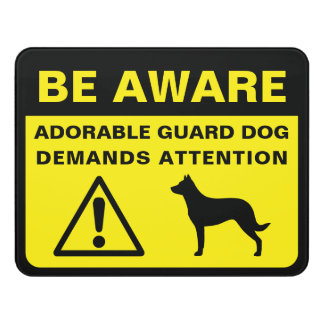 Beauceron Silhouette Funny Guard Dog Warning Door Sign