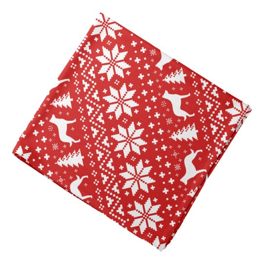 Beauceron Silhouettes Christmas Pattern Red Bandana