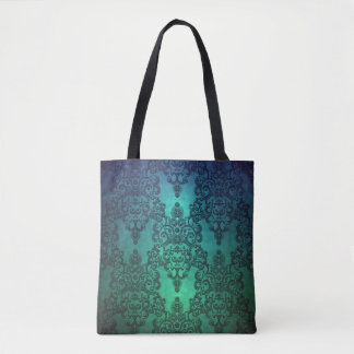 Beaufitul Deep Teal Green Blue Intricate Damask Tote Bag