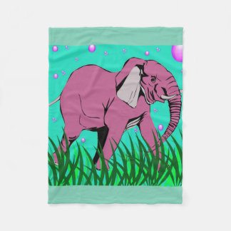 Beauiful Pink Elephant Fleece Blanket