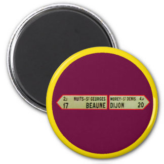 Beaune France 1986Sign Beaune RedWhite  The MUSEUM 6 Cm Round Magnet