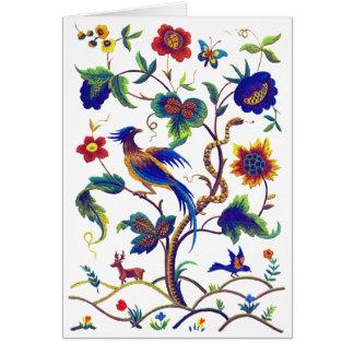 Beautful Jacobean Bird of Paradise Embroidery Greeting Card
