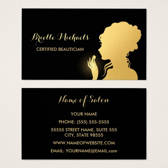 Beautician Black and Faux Gold Woman Makeup Artist