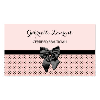 Beautician Chic Parisian Pink Polka Dots Black Bow Pack Of Standard Business Cards
