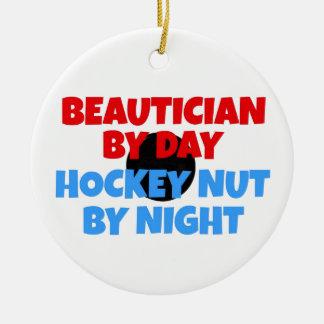 Beautician Hockey Fanatic Christmas Ornament