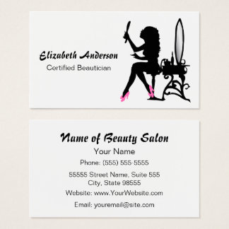 Beautician Pink and Black Girly Girl Hair Stylist