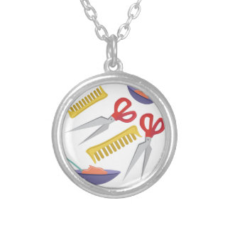 Beautician Tools Round Pendant Necklace