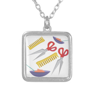 Beautician Tools Square Pendant Necklace