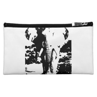Beautician with black and white print elephant makeup bag