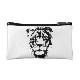Beautician with black and white print Lion Cosmetic Bag