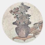 Beauties admiring the flowers by Utagawa,Kuninao Round Stickers