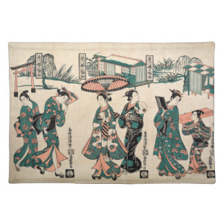 Beauties from Fukagawa. Triptych Placemat