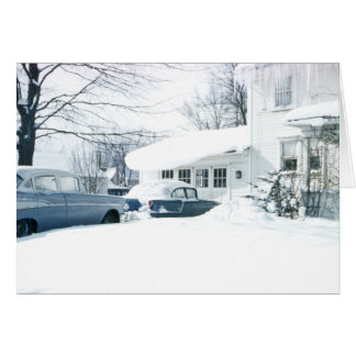 Beautiful 1950's Snow Covered House and Cars Card