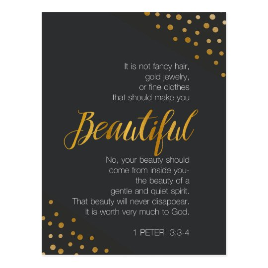 Beautiful, 1 Peter 3 Scripture Verse Postcard