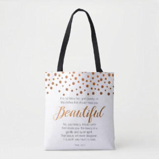 Beautiful, 1 Peter 3 Scripture Verse Tote Bag