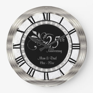 Beautiful 25th Silver Diamond Anniversary Large Clock