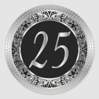 Beautiful 25th Silver Metallic and Black Classic Round Sticker
