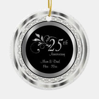 Beautiful 25th Silver Wedding Anniversary Round Ceramic Decoration