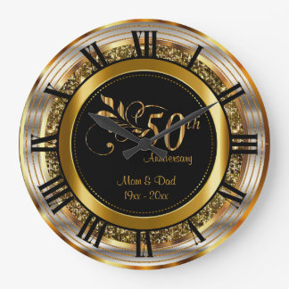 Beautiful 50th Golden Anniversary Large Clock