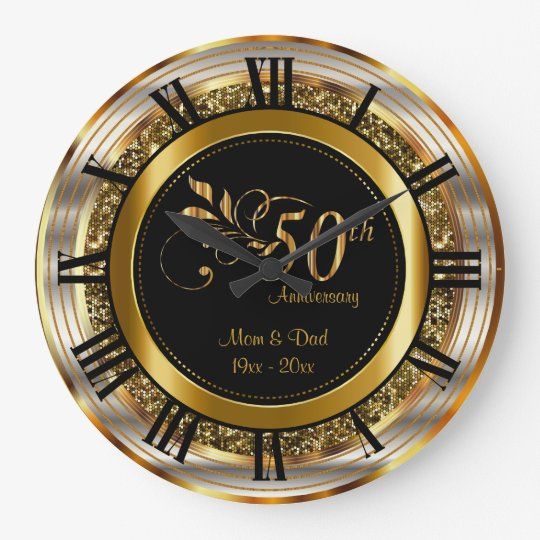 Beautiful 50th Golden Anniversary Large Clock