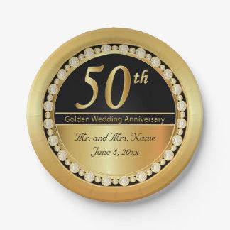 Beautiful 50th Golden Wedding Anniversary Paper Plate