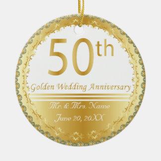 Beautiful 50th Golden Wedding Anniversary Round Ceramic Decoration