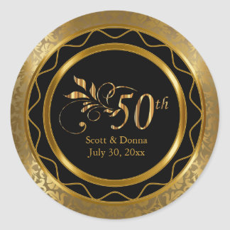 Beautiful 50th Golden Wedding Anniversary Round Sticker