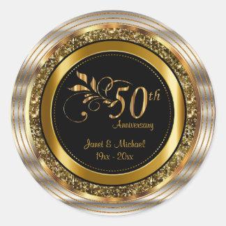 Beautiful 50th Golden Wedding Anniversary Round Sticker
