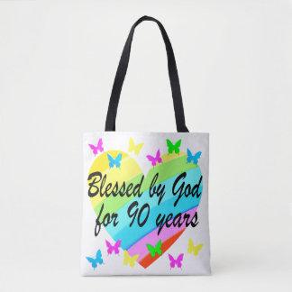 BEAUTIFUL 90TH CHRISTIAN BIRTHDAY PRAYER DESIGN TOTE BAG