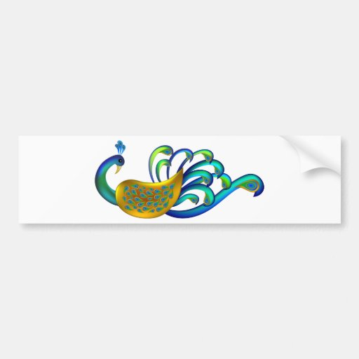 Beautiful, Abstract and Colorful Indian Peacock Bumper Stickers