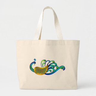 Beautiful, Abstract and Colorful Indian Peacock Jumbo Tote Bag