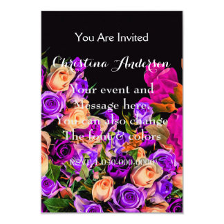 Beautiful Abstract Flowers Black Background 9 Cm X 13 Cm Invitation Card