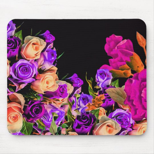 Beautiful Abstract Flowers Black Background Mouse Mat