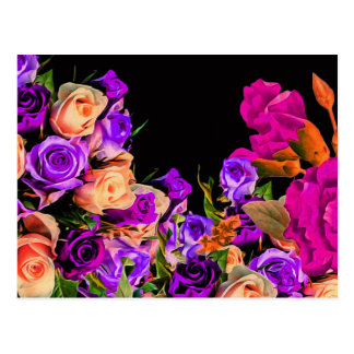 Beautiful Abstract Flowers Black Background Postcard
