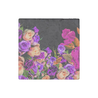 Beautiful Abstract Flowers Black Background Stone Magnet